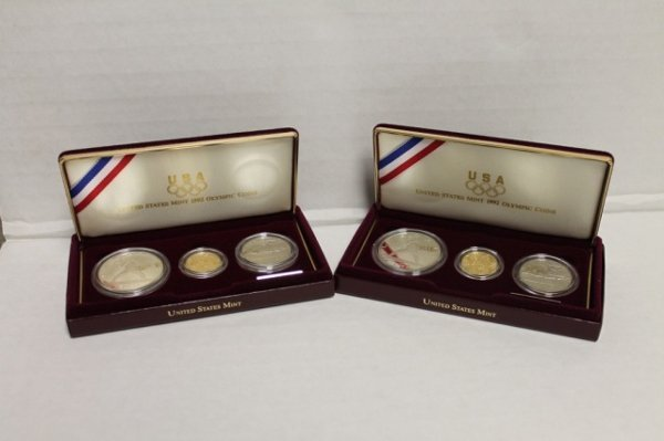 2 1992 US Olympic coins three-coin proof set.