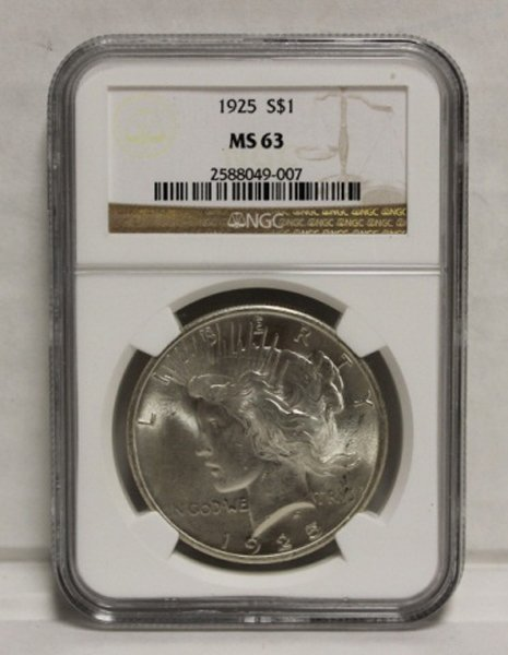 1925 Peace dollar NGC graded MS-63.