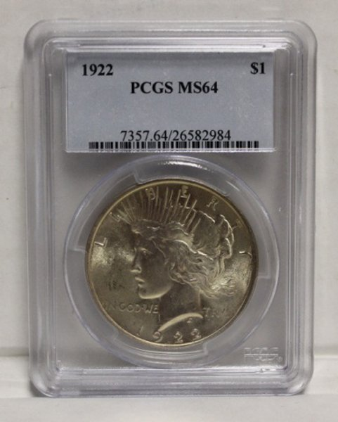1922 Peace dollar PCGS graded MS-64.