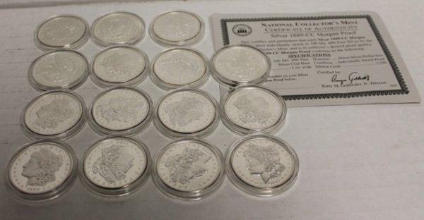 18 Reproduction 1899-CC Morgan Proofs fine silver.