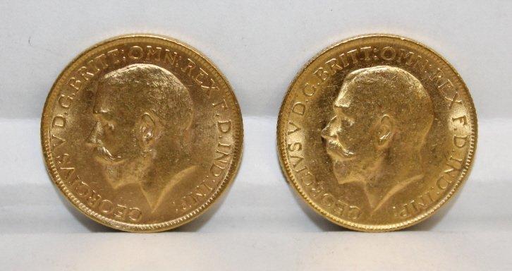 2 Australia George V gold sovereign coins.