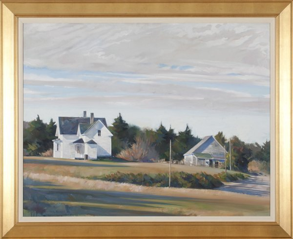 Paul Rickert oil on canvas landscape with houses.