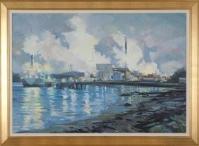 Paul Rickert oil on canvas townscape over water.