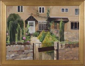 Carol Horgan Lesher oil on canvas of cottage.