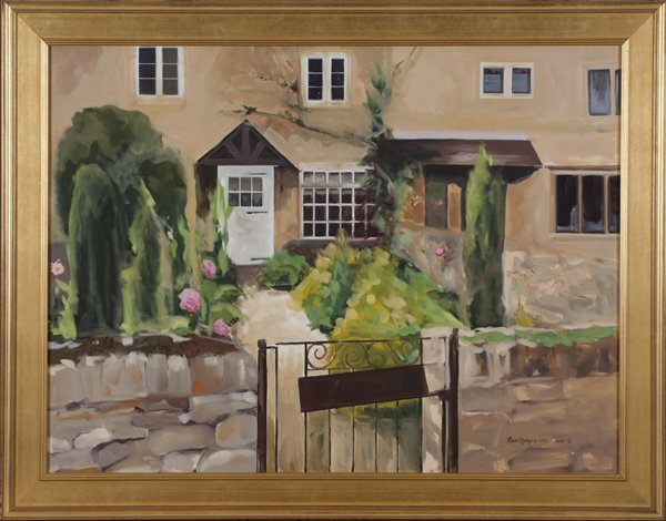 Carol Horgan Lesher oil on canvas of cottage.