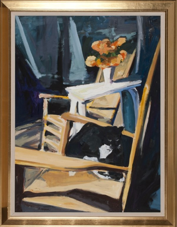 Carol Horgan Lesher oil on canvas w/ cat on chair.