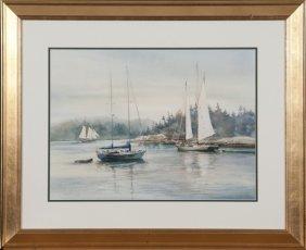 "Carol Sebold watercolor on paper ""Days of Sail""."