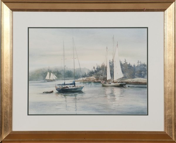 "Carol Sebold watercolor on paper ""Days of Sail""."
