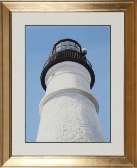 Thomas Newnam watercolor on paper of lighthouse.