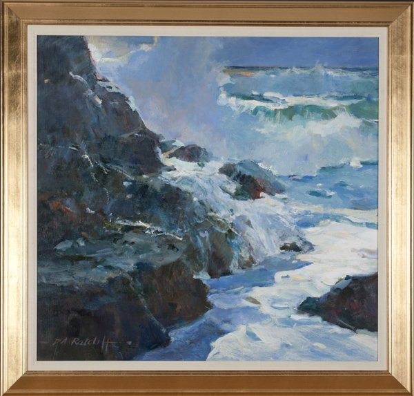 Dale Ratcliff acrylic on board seascape.