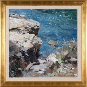 Dale Ratcliff oil on canvas seascape.