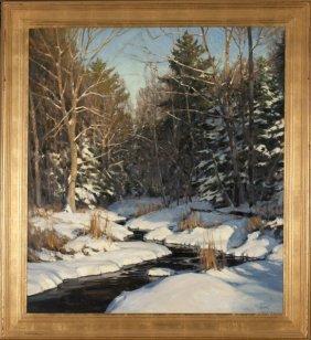 Michael B. Karas oil on board winter landscape.
