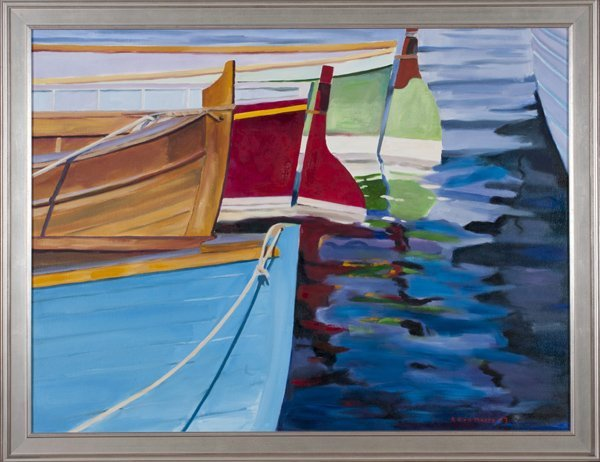 R. Kirk Moore oil on canvas of boats in harbor.