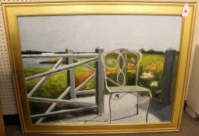 Carol Horgan Lesher oil on canvas of a chair.