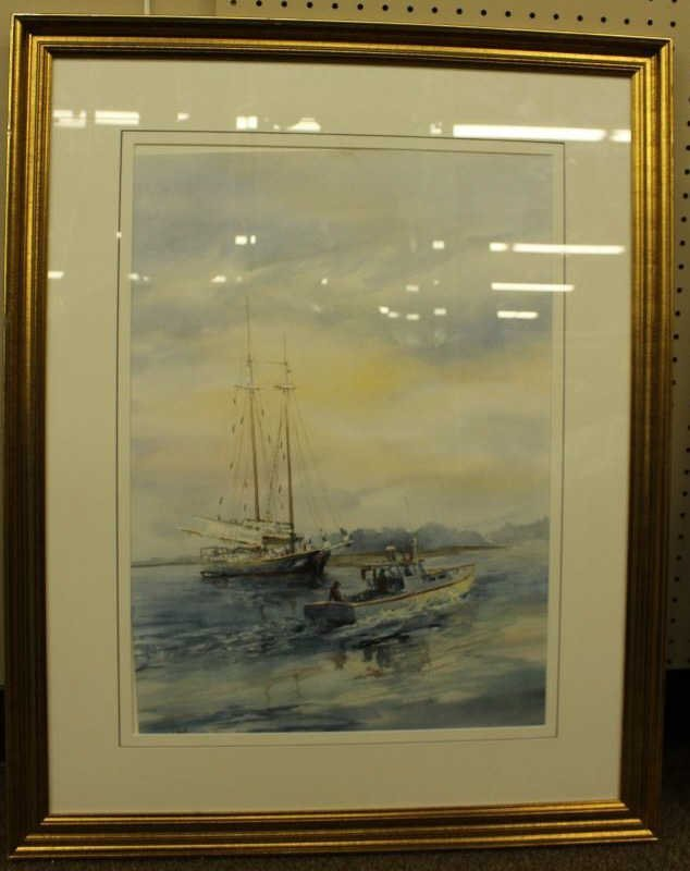 Carol Sebold watercolor on paper seascape.