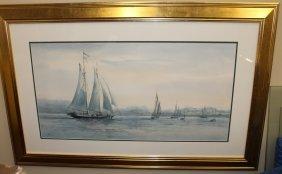 Carol Sebold watercolor on paper seascape.