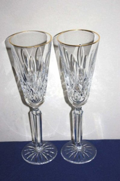 Pair of Waterford crystal toasting flutes.