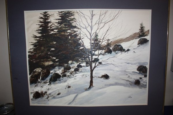 Framed watercolor of winter scene by local artist