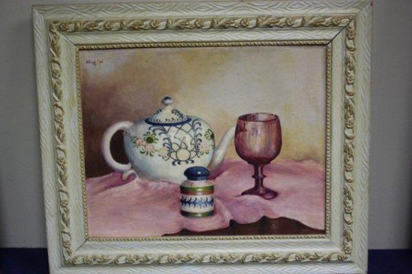 Wood framed stillife oil on canvas.