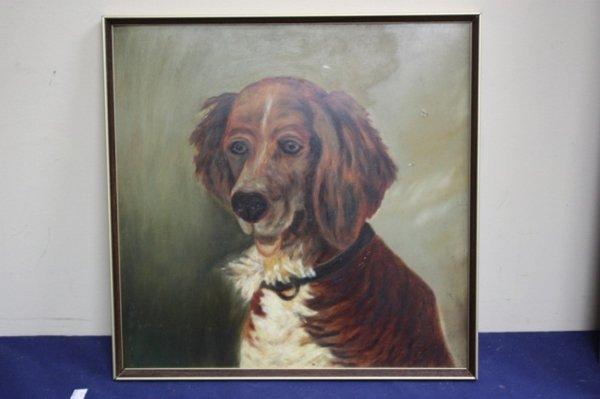 Framed oil on board of a dog.