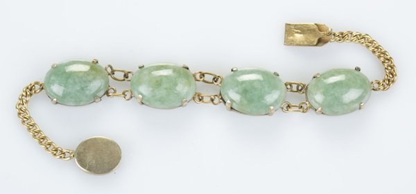 Silver w/ gold plated bracelet set w/ oval jade