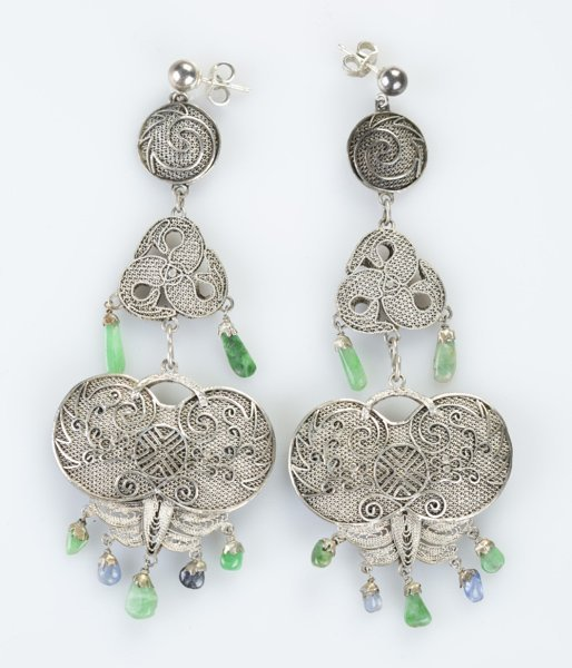 Chinese silver with jade drop earrings