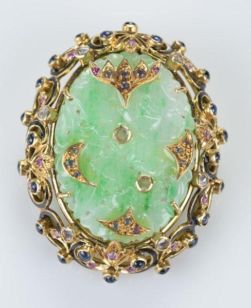 Carved jade brooch w/ gold mount & rubies, diamond