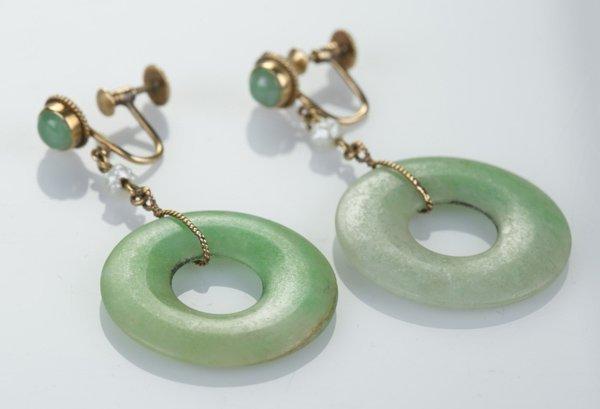 Jade bi earrings with 14 KT gold.