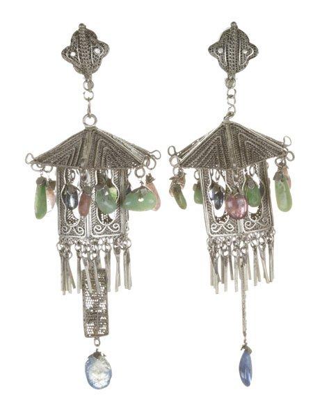 Pair of Chinese pagoda-like earrings