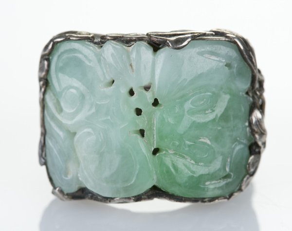 Silver ring with jade insert w/ openwork & lingzhi