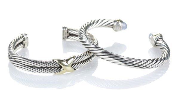 2 David Yurman sterling silver and gold bangles.