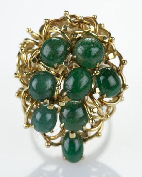 14 KT yellow gold ring w/ 7 cabochon emeralds