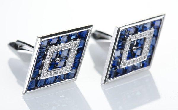 Lucien Piccard cufflinks, diamonds and sapphires, 14KT
