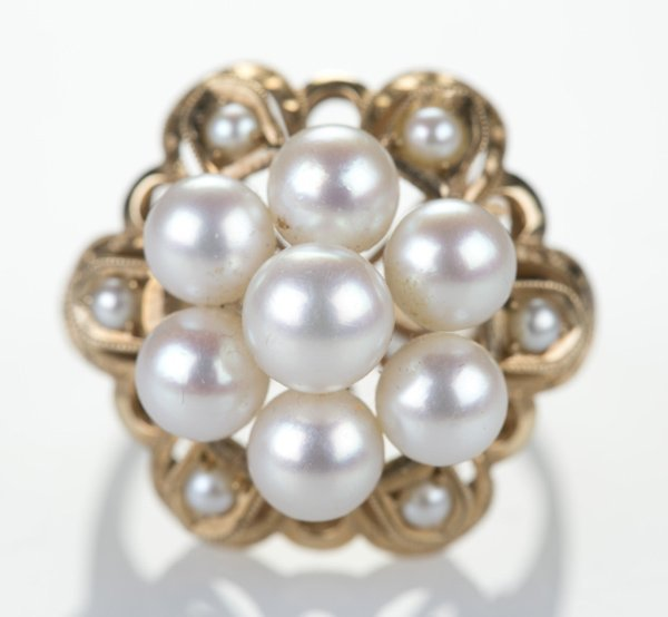 14 KT yellow gold, cultured pearl star form ring