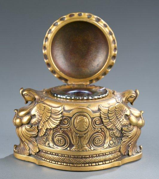 Tiffany dore bronze inkwell w/ signed glass insert