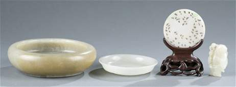 4 jade pieces: 2 small bowls, disk, figure