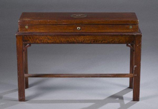 George III brass-inlaid figured mahogany gun case