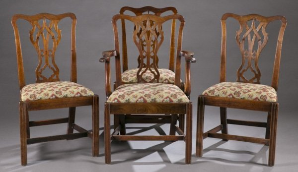 4 English Chippendale chairs c.1760-80.