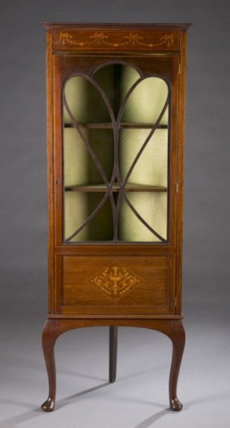 Corner cabinet on stand, late 19th c.