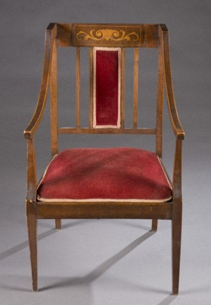19th century chair w/ red velvet upholstery, inlay