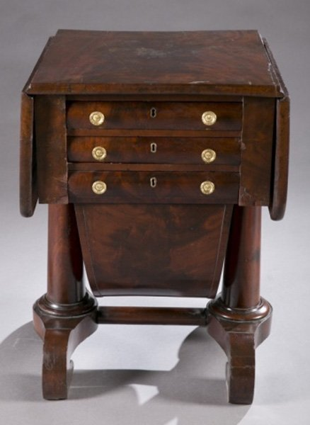 American Empire drop-leaf sewing table, 19th c.