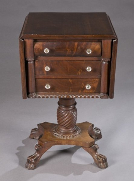 American Empire pedestal dropleaf sewing table