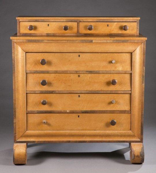Empire bird's eye maple four drawer chest, 19th c.