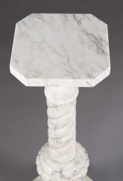 White marble column plant stand. - 2