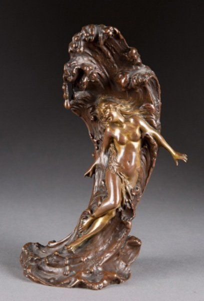 Carl Kauba bronze woman against wave