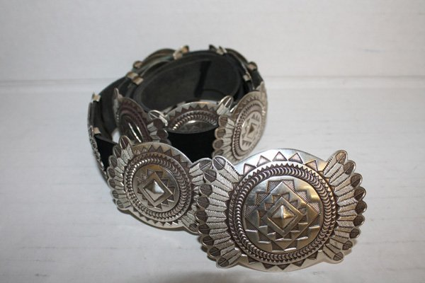 Harry Martinez Navajo sterling silver concho belt.