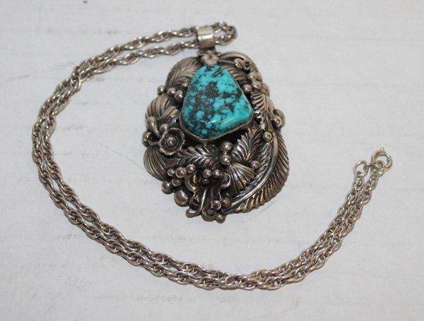 "Silver & turquoise pendant necklace signed ""JW""."
