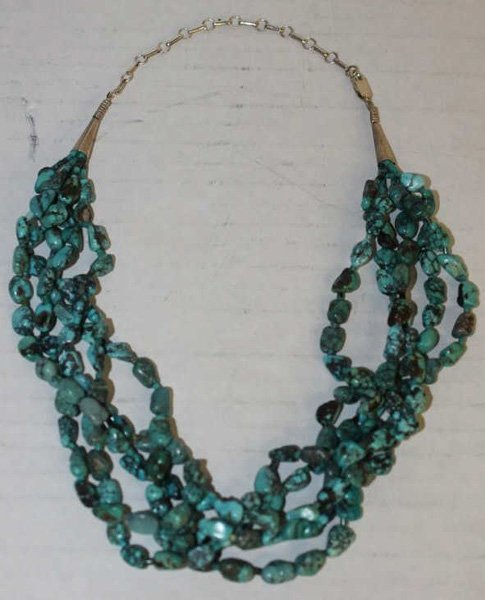 Hopi 5-strand turquoise, sterling necklace.