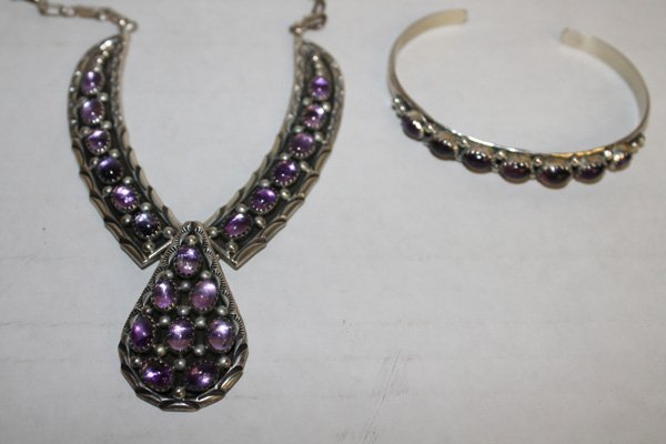 Sterling silver, amethyst necklace & cuff bracelet
