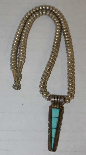 Navajo sterling necklace w/ turquoise pendant.